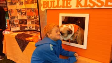 My son getting bulldog kisses! We love volunteering for Bulldog Haven NW