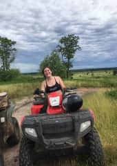 At a cabin in the Upper Peninsula of Michigan stocked with all the fun outdoors toys like ATV's and snowmobiles