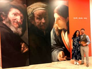 Visiting Rembrandt at Prado Museum in Madrid Spain. We love art history.