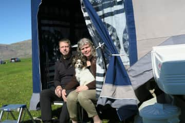 Me and Siggi camping in Iceland with our dog Gormur