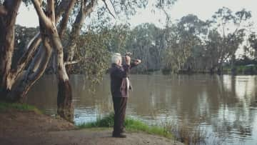 Jim fishing the Darling River on a road trip through South Australia, Victoria and NSW.