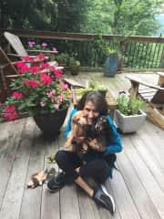 Taking a break from gardening to hug the girls, Gretta & Maedchin in  Saluda NC!