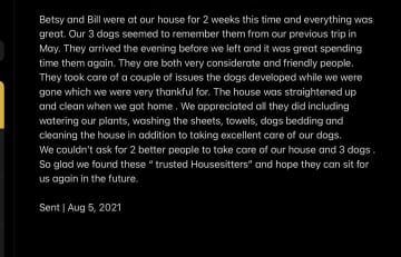 This is a review from the owner of the three pit bulls above but was written in response to my feedback of the sit the second time.