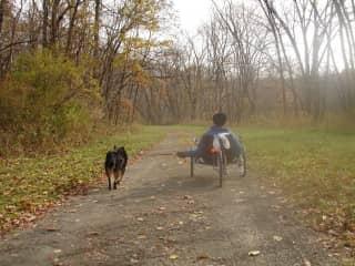 Biking on a rail to trail