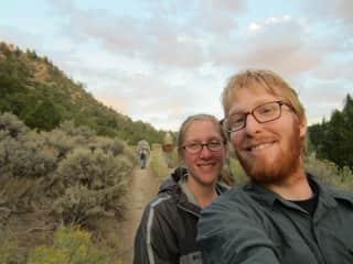 Allison and Derek going fishing in Wyoming.