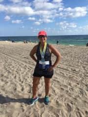 Christine after 1/2 marathon run in Fort Lauderdale