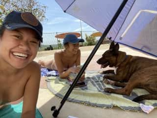 Sunbathing with my sister and foster dog Groot ☀️