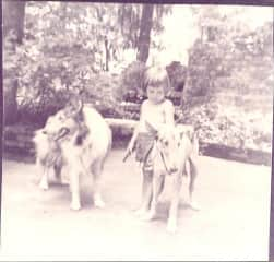 How I became a dog magnet: with my aunt's collies in Pensacola