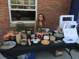 Me selling my ceramics in Fredonia, NY