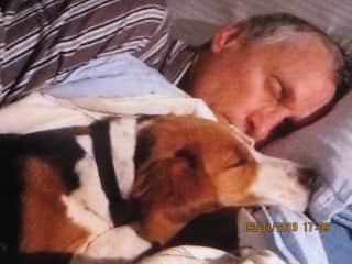 Craig and Grand doggee, Marley Beagle.  Early morning wake up call!!