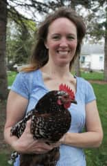 Therese with one of her chickens