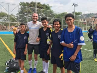 Ryan joins football/soccer leagues everywhere we live. This was at a charity match in Colombia.