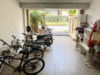 Garage - four bicycles for your use.  One motorcycle/scooter for your use.
