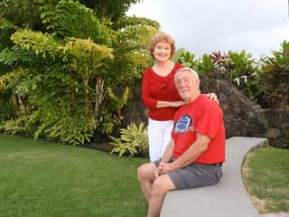 Bill and Ginger at our pet sit on the Big Island of Hawaii in Feb. 2020