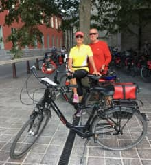 Leonie and Ross cycling through Belgium and Holland