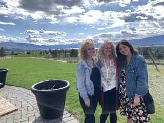 Visiting British Columbia winery with family.