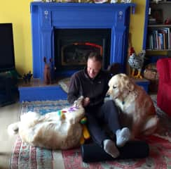 David and doggies with favorite squeeze toy!