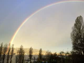 glorious morning rainbow view from terrace