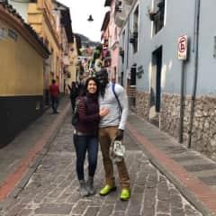 Remi and Catarina in Quito, Ecuador enjoying a walking tour.