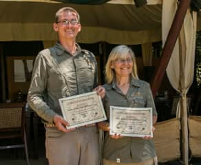 Alison & Tommy with our certificates in working with Kenya Wildlife on Conservation
