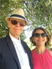 My husband Jon and I enjoying the south of France sunshine