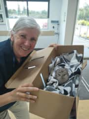 This is me with a baby tawny frogmouth found under a car. As an ambulance driver for the RSPCA I have collected this little guy and taking him to the animal hospital