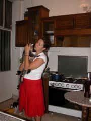 The only pic I have of Sheeba and me, and she doesn't seem to happy about the fuss.. Cairo, 2008