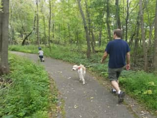 Walking a client dog at a wooded trail near our Minnesota home.