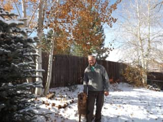 Steve with our dog Charlie February 2015