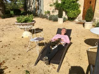 Relaxing in the sunshine with Foxy-October 2019 in Dordogne, France