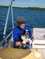 Taking our neighbors dog, Odee on a boat ride