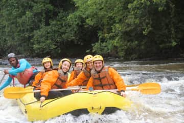 The four of us practicing rafting/Brazil