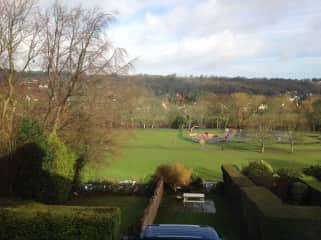 View from the front of the house overlooking the park and river Wharfe