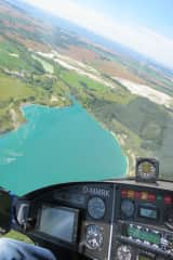 Flying - here over a calk lake on Rugia