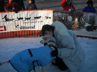 At the Iditrod finish line in Nome, Alaska