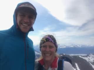 Lauri with her son Zach on McHugh Peak in Anchorage, AK