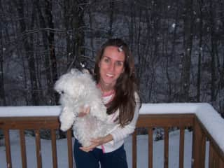 """Claudia and Tiffany in the snow storm... back when we lived in the USA for a couple of years. They used to call me """"the frozen Brazilian"""" at work! :>)"""