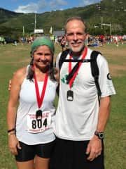 Deb and Kyle in St. John after a road race.
