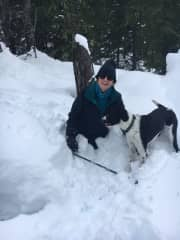 Roxy and I romping in the snow!