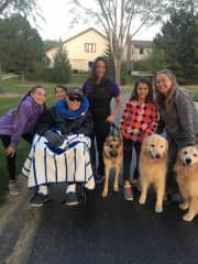 My Family and I on an evening stroll with all the doggies!
