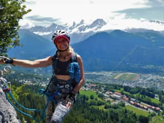 Climbing via ferrata in France ( Mont Blanc in the background)