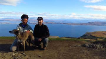 Mel and Peter with Moley on Isle of Skye, Scotland.