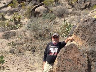 My husband hiking in Big Bend National Park April 2021
