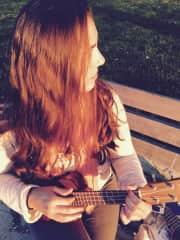 Playing my ukulele on Alki Beach, Seattle WA