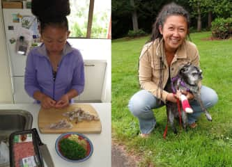 Mel prepares her famous wontons, left, and plays with her pug, Schmoozer.