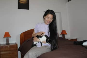 Playing with a stray kitten in Ollantaytambo, Peru!