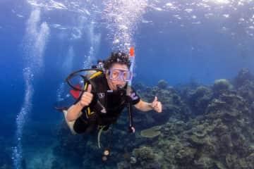 Joyce diving in Australia