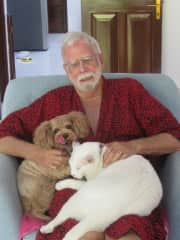 Sharing leisurely morning lap time w/Australian pets in Saigon