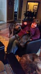 Andrea with Fern, Reba and Chi-Chi. Pets we have cared for many times.
