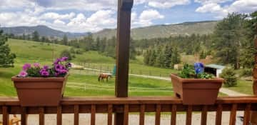 The view of the Rocky Mountains from the deck